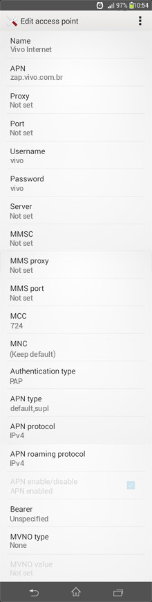 Vivo Internet APN settings for Android