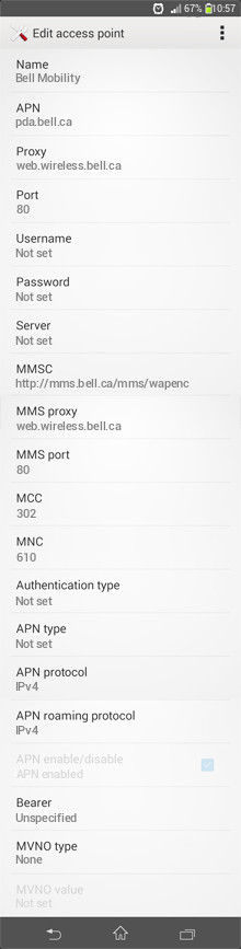 Bell Mobility  APN settings for Android