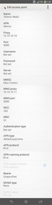 Telenor Mobil  APN settings for Android