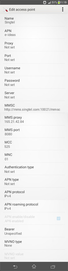 Singtel  APN settings for Android