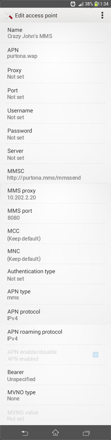 Crazy John's MMS APN settings for Android