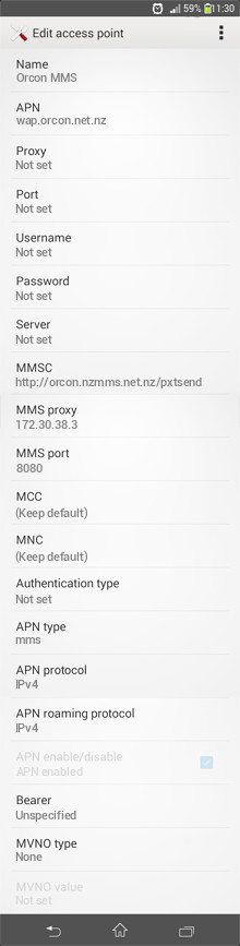 Orcon MMS APN settings for Android