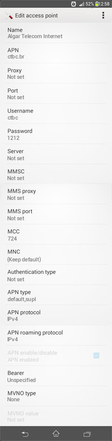 Algar Telecom Internet APN settings for Android