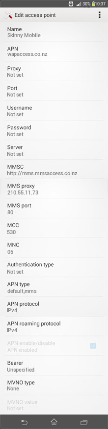 Skinny Mobile  APN settings for Android