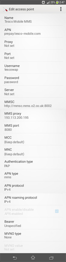 Tesco Mobile MMS APN settings for Android