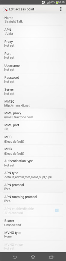 Straight Talk  APN settings for Android
