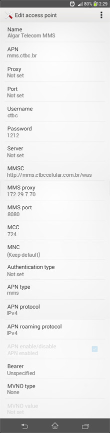 Algar Telecom MMS APN settings for Android