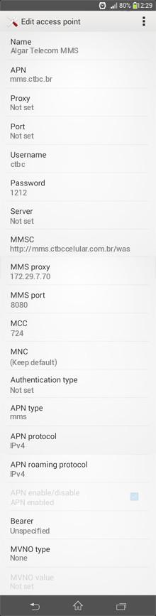 Algar Telecom MMS APN settings for Android