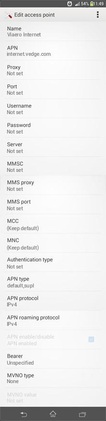 Viaero Internet APN settings for Android