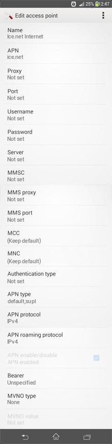 Ice.net Internet APN settings for Android