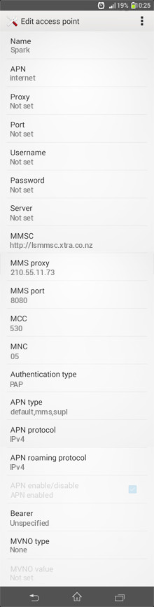 Spark  APN settings for Android