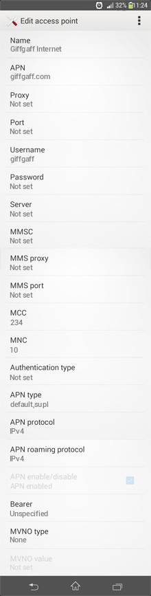 Giffgaff Internet APN settings for Android