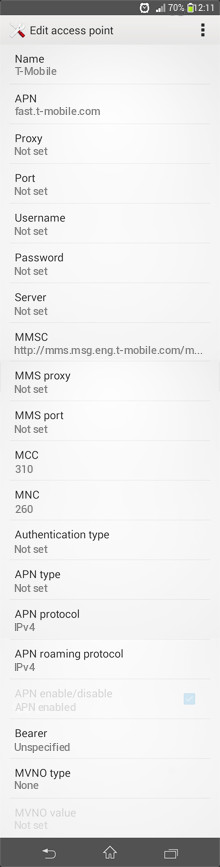T-Mobile  APN settings for Android