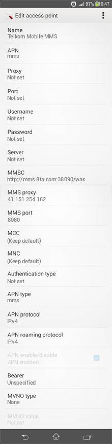 Telkom Mobile MMS APN settings for Android