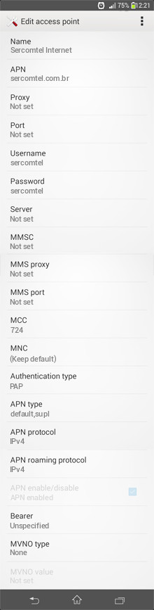 Sercomtel Internet APN settings for Android