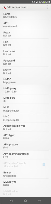 Ice.net MMS APN settings for Android