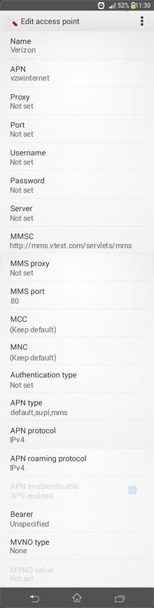 Verizon  APN settings for Android