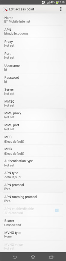 BT Mobile Internet APN settings for Android