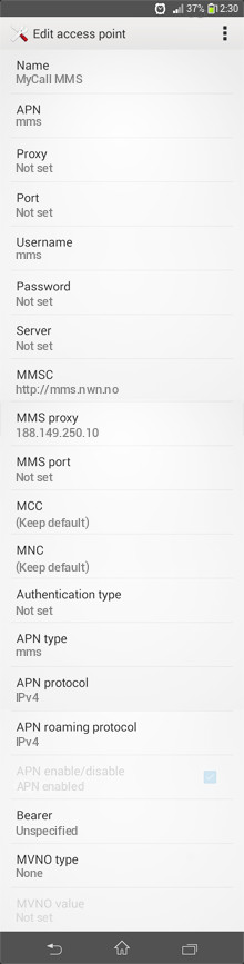 MyCall MMS APN settings for Android