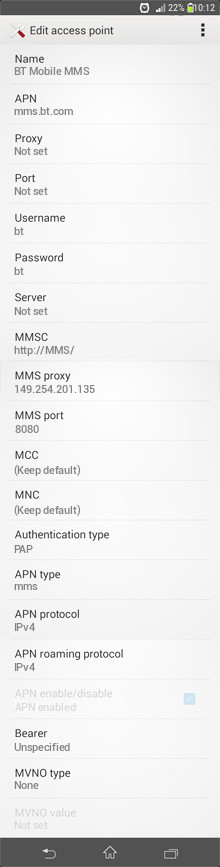 BT Mobile MMS APN settings for Android