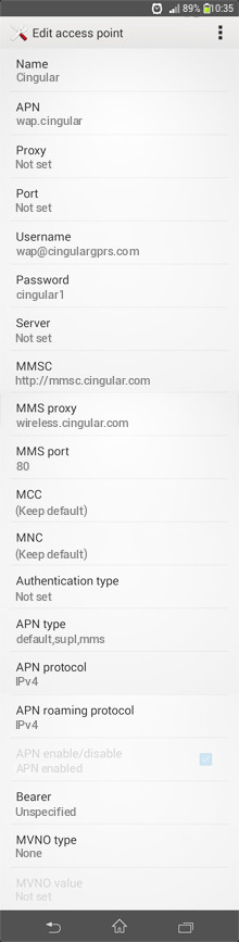 Cingular   APN settings for Android