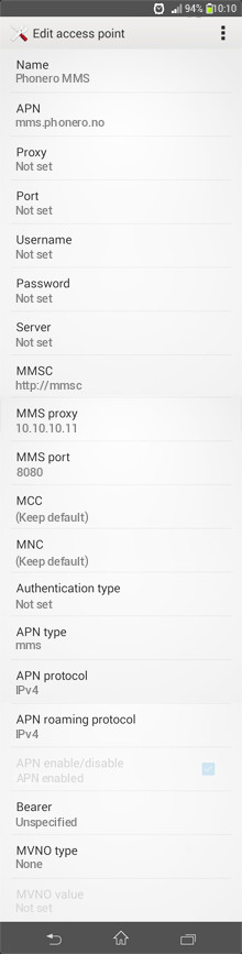 Phonero MMS APN settings for Android
