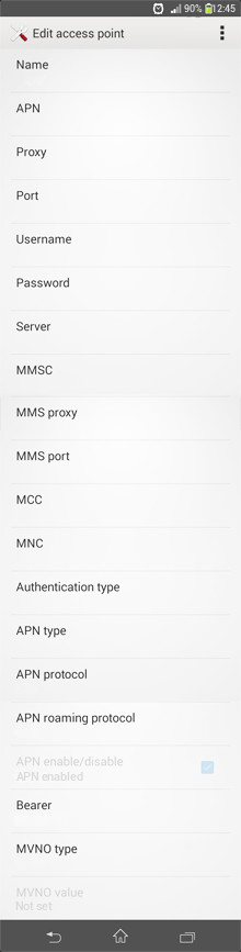Videocon MMS APN settings for Android