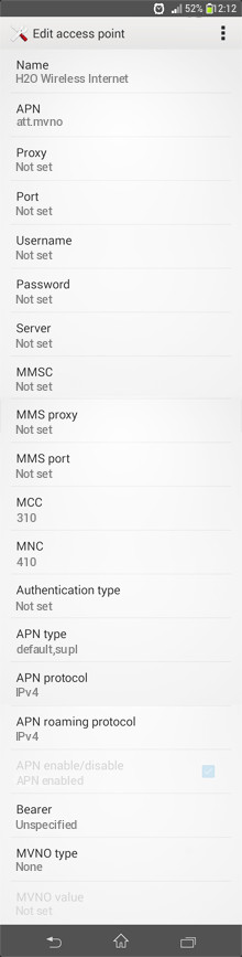 H2O Wireless Internet APN settings for Android