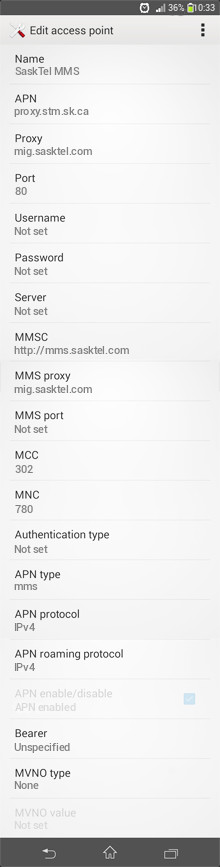 SaskTel MMS APN settings for Android