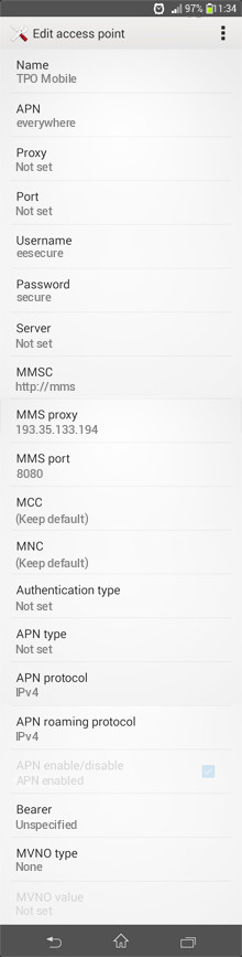 TPO Mobile  APN settings for Android