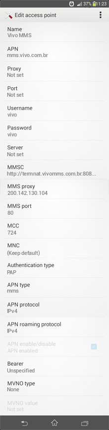 Vivo MMS APN settings for Android