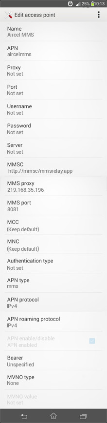 Aircel MMS APN settings for Android