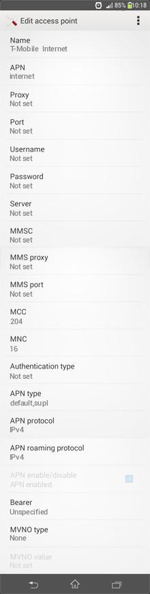 T-Mobile  Internet APN settings for Android