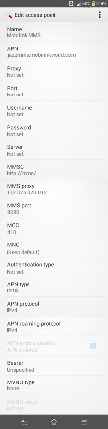 Mobilink MMS APN settings for Android