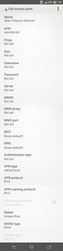 Apex Telecom Internet APN settings for Android