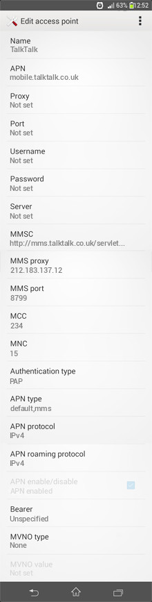 TalkTalk  APN settings for Android