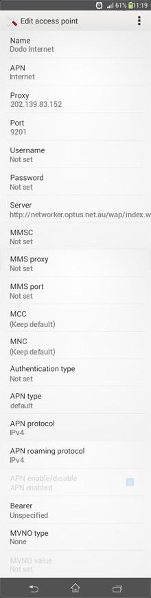 Dodo Internet APN settings for Android