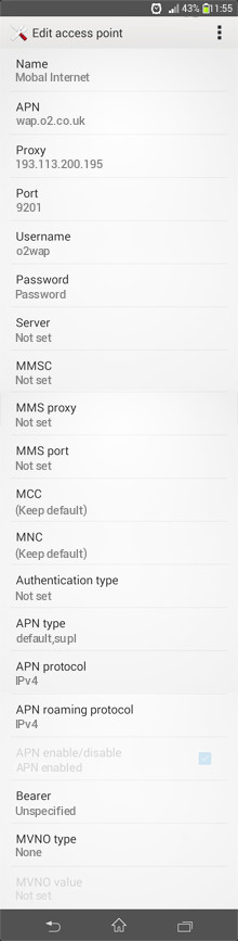 Mobal Internet APN settings for Android