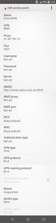 Dodo MMS APN settings for Android