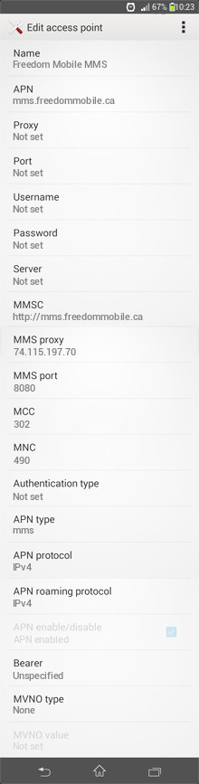 Freedom Mobile MMS APN settings for Android