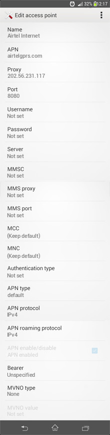 Airtel Internet APN settings for Android