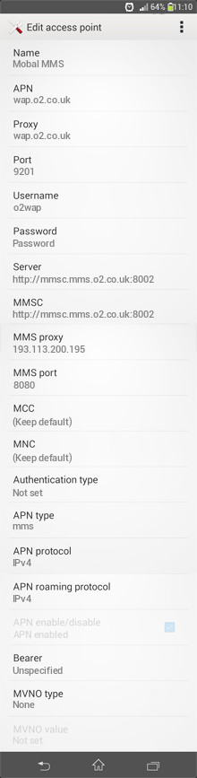 Mobal MMS APN settings for Android