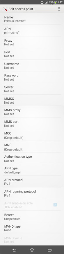 Primus Internet APN settings for Android