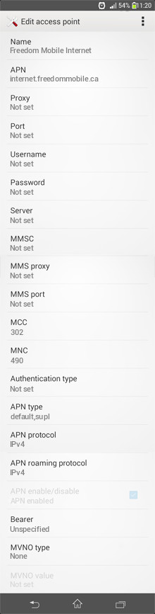 Freedom Mobile Internet APN settings for Android