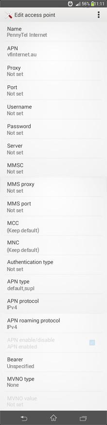 PennyTel Internet APN settings for Android