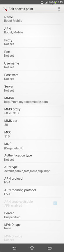 Boost Mobile  APN settings for Android