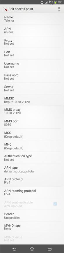 Telenor  APN settings for Android
