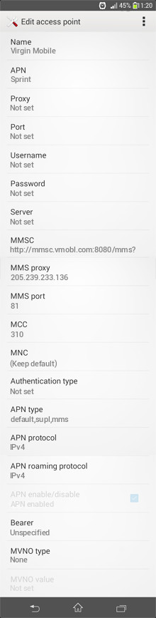 Virgin Mobile  APN settings for Android