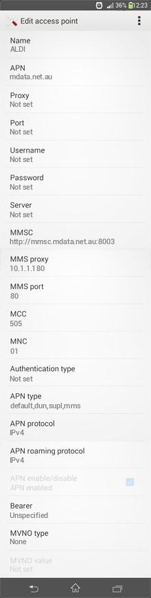 ALDI  APN settings for Android