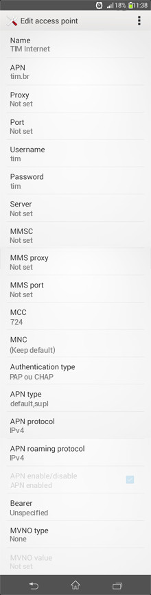 TIM Internet APN settings for Android